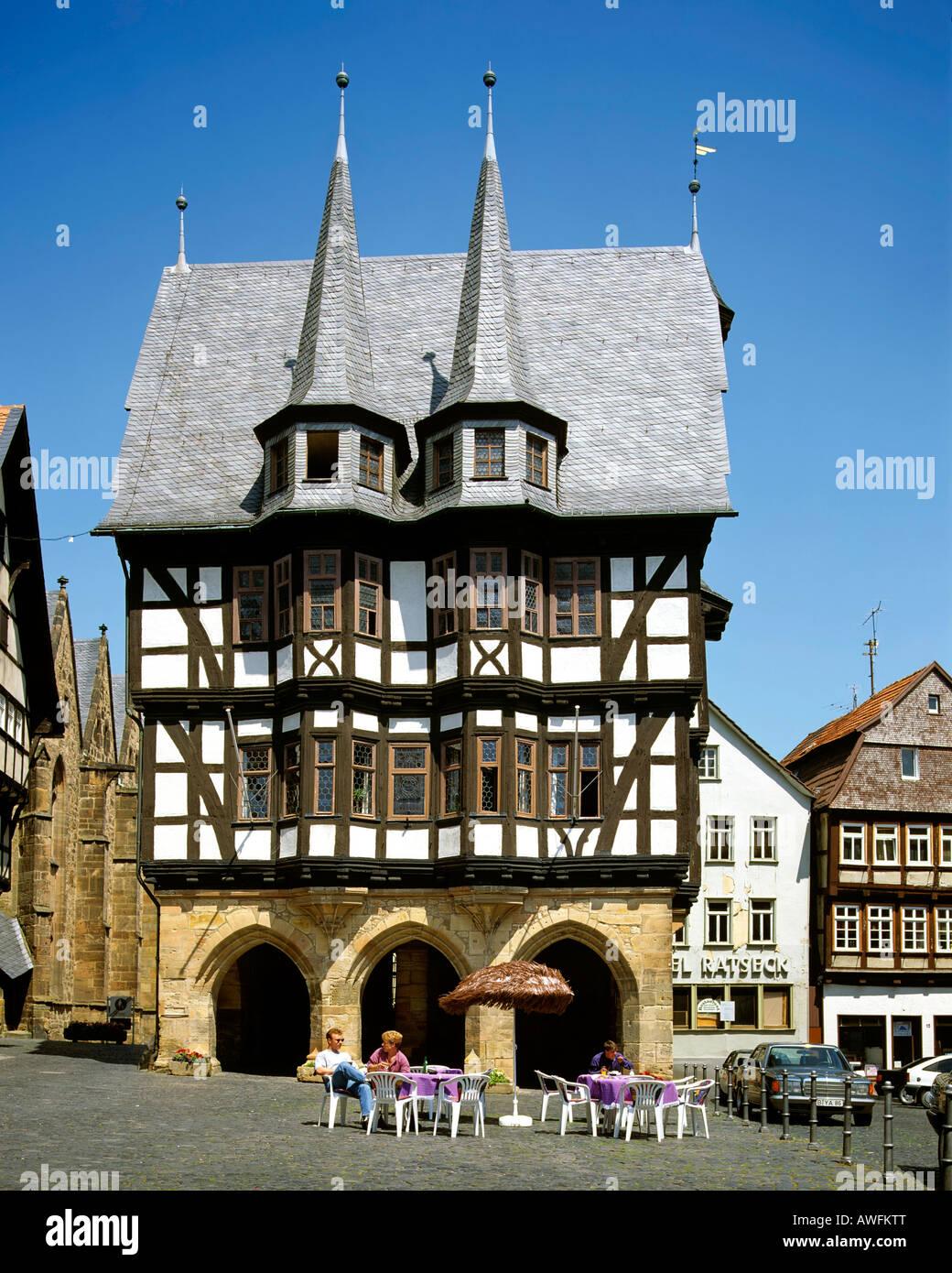 Fachwerk-style town hall in Alsfeld, Hesse, Germany, Europe - Stock Image