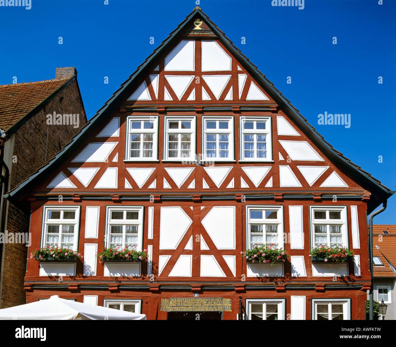 Fachwerk-style house in Hofgeismar, Hesse, Germany, Europe - Stock Image