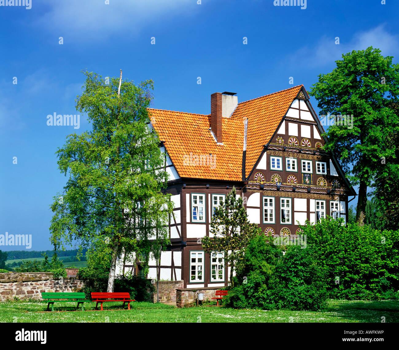 Fachwerk-style house in Blomberg, North Rhine-Westphalia, Germany, Europe - Stock Image