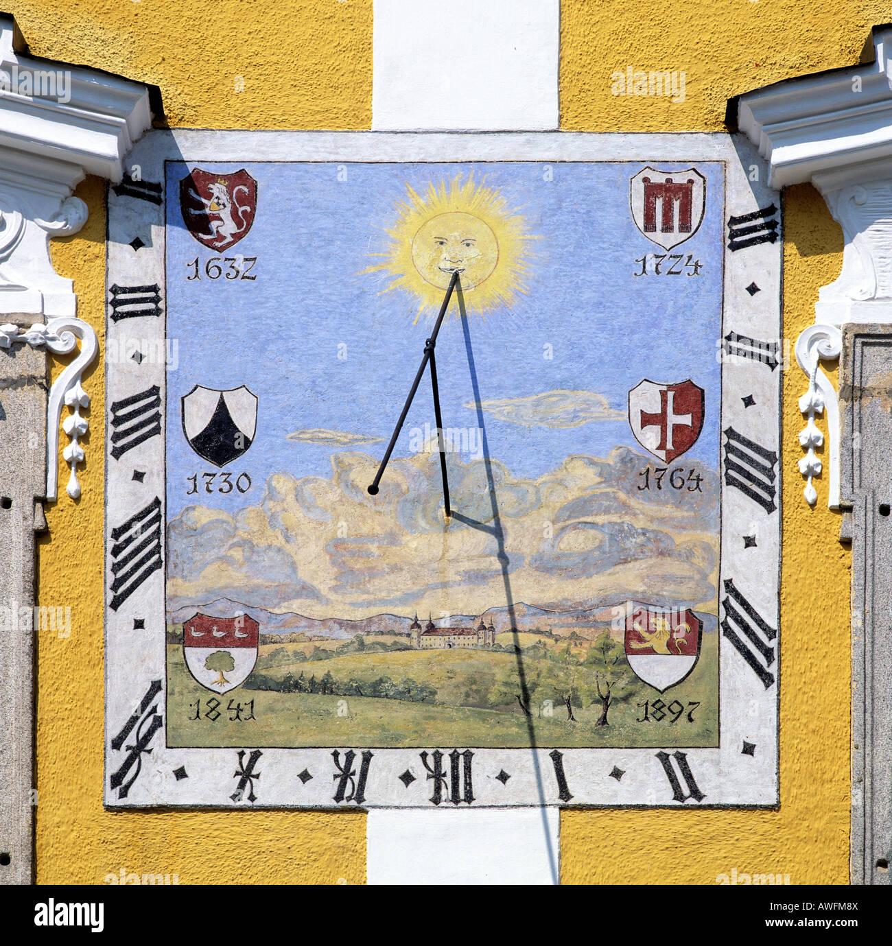 Sun dial, Schloss Tillysburg (Tillysburg Palace), Linz, Upper Austria, Austria, Europe - Stock Image