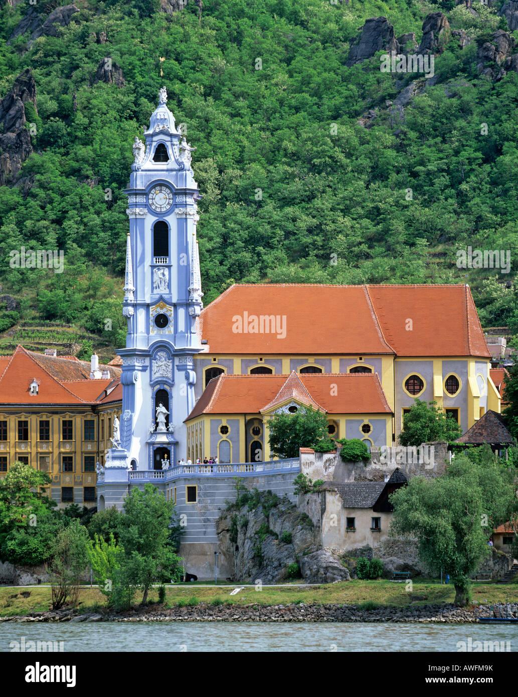 Stiftskirche Duernstein (Baroque monastery), Danube, Wachau, Lower Austria, Austria, Europe - Stock Image