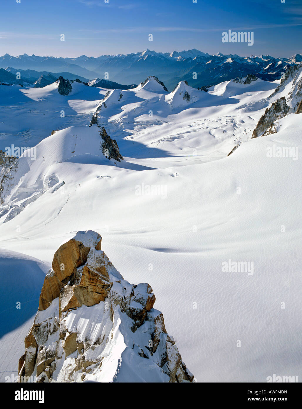 Vallee Blanche viewed from Mt. Aiguille du Midi, Savoy Alps, France, Europe Stock Photo