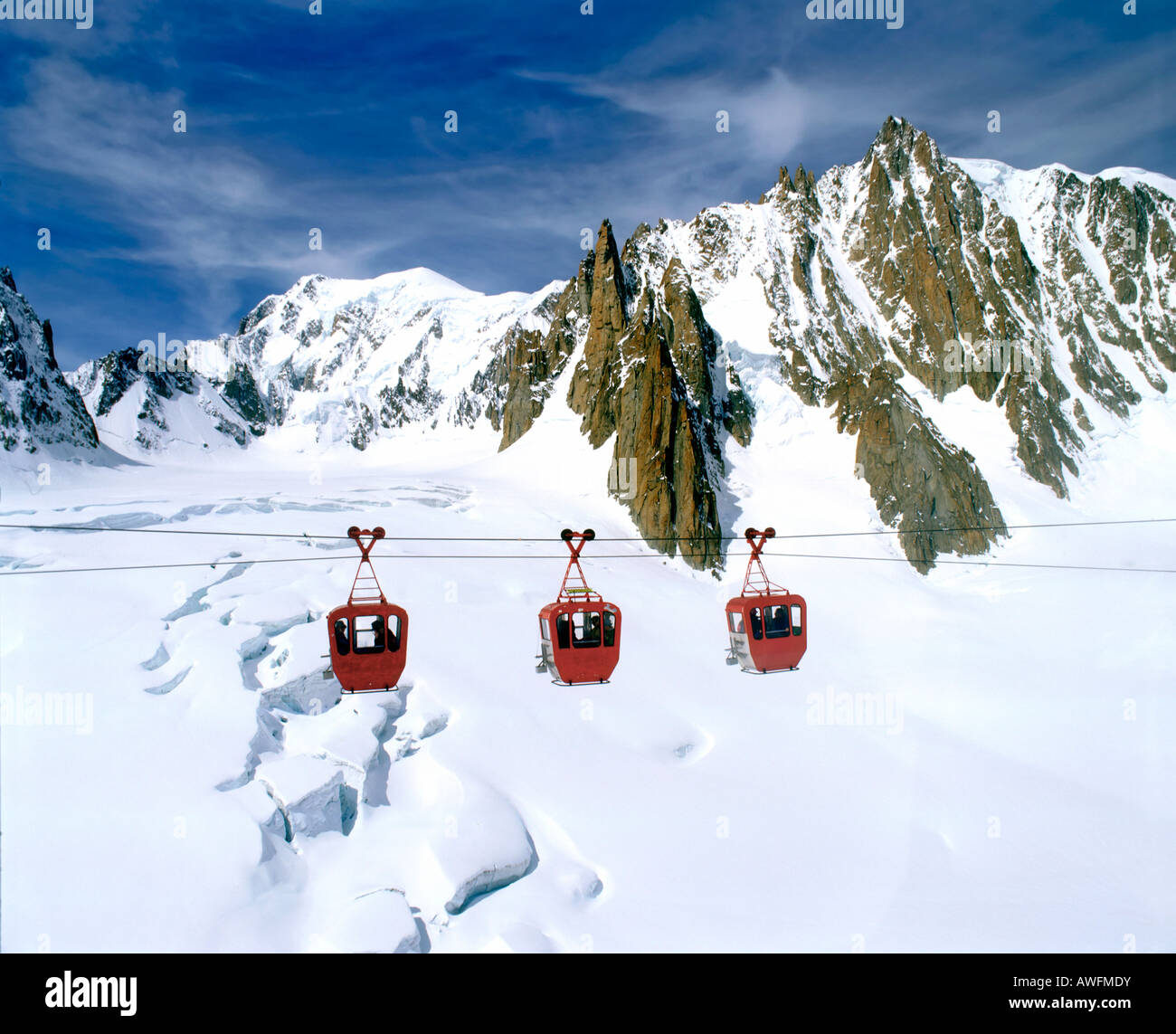 Gondola lift going from Mt. Aiguille du Midi to Point Helbonner, view of Turin Cabin, Mont Blanc, Vallee Blanche, Stock Photo
