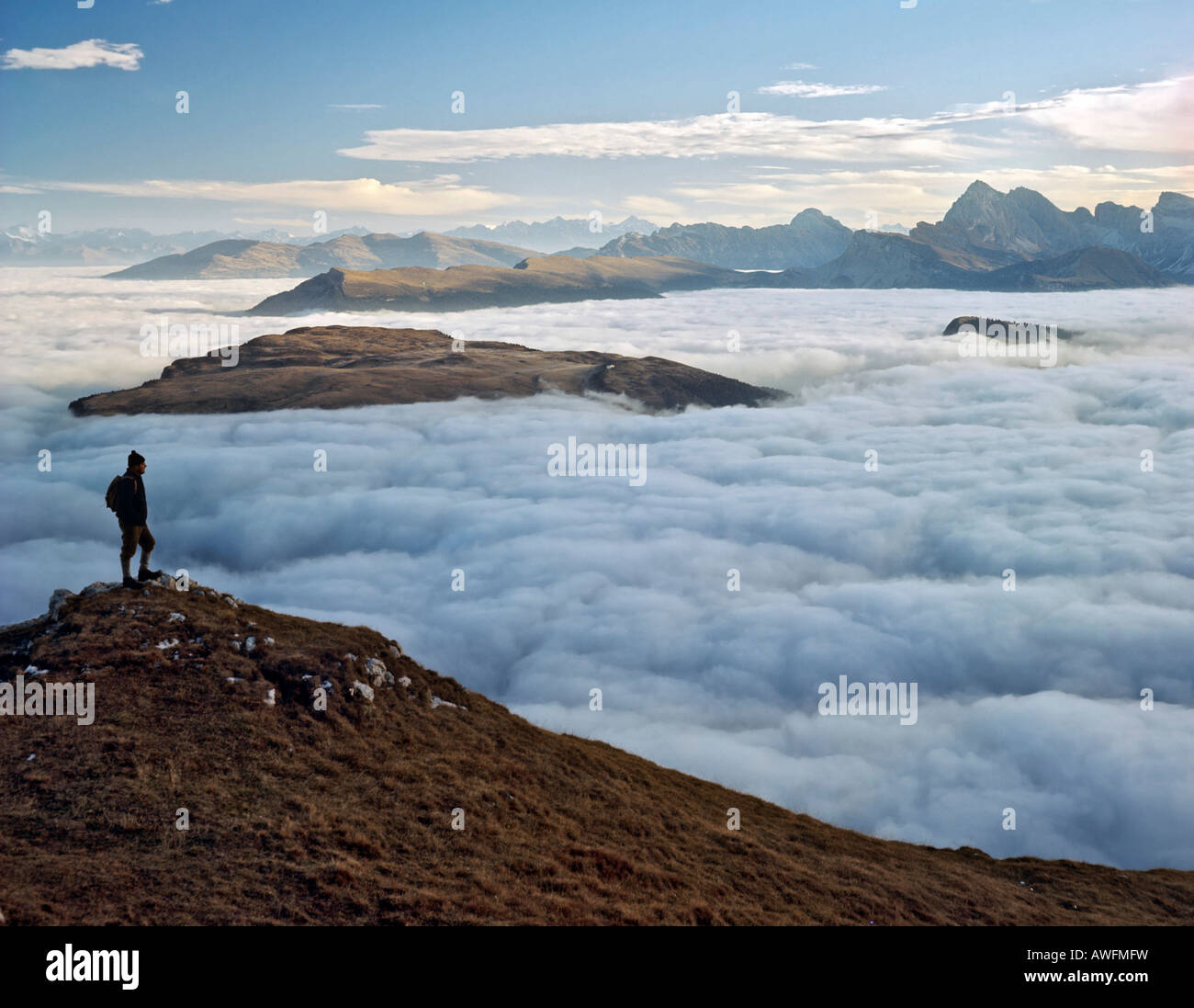 View from the Schlern Plateau toward the Puflatsch and Geislergruppe Ranges, Dolomites, South Tirol, Italy, Europe - Stock Image