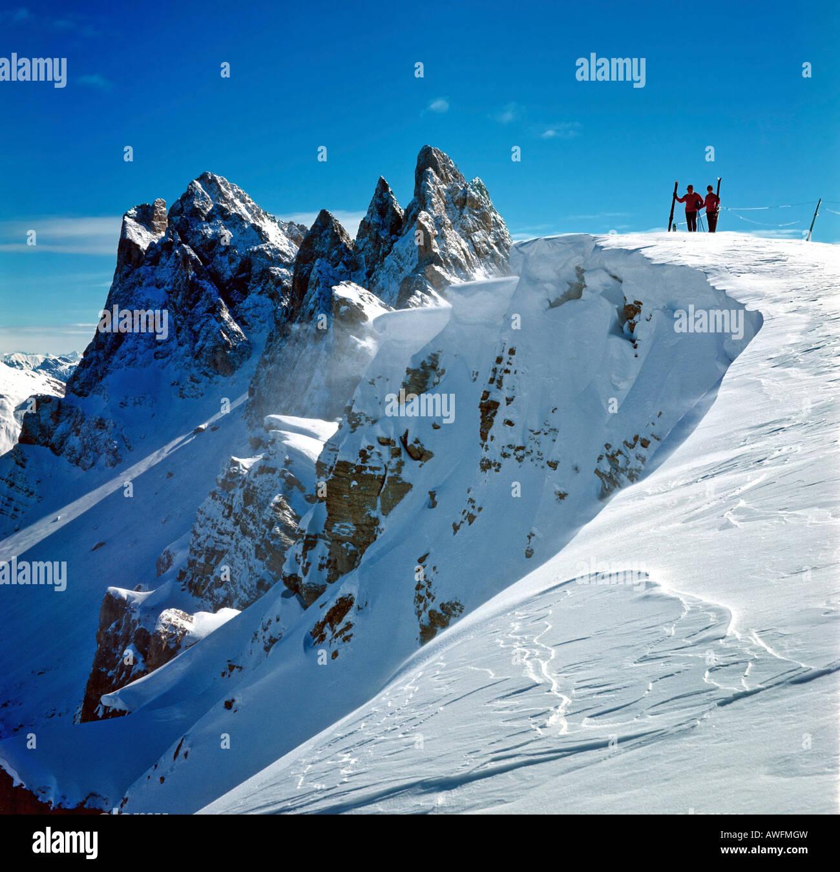 Fermedatuerme and Sass Rigais peaks, Geislergruppe Range, Groednertal Valley, Dolomites, South Tirol, Italy, Europe - Stock Image