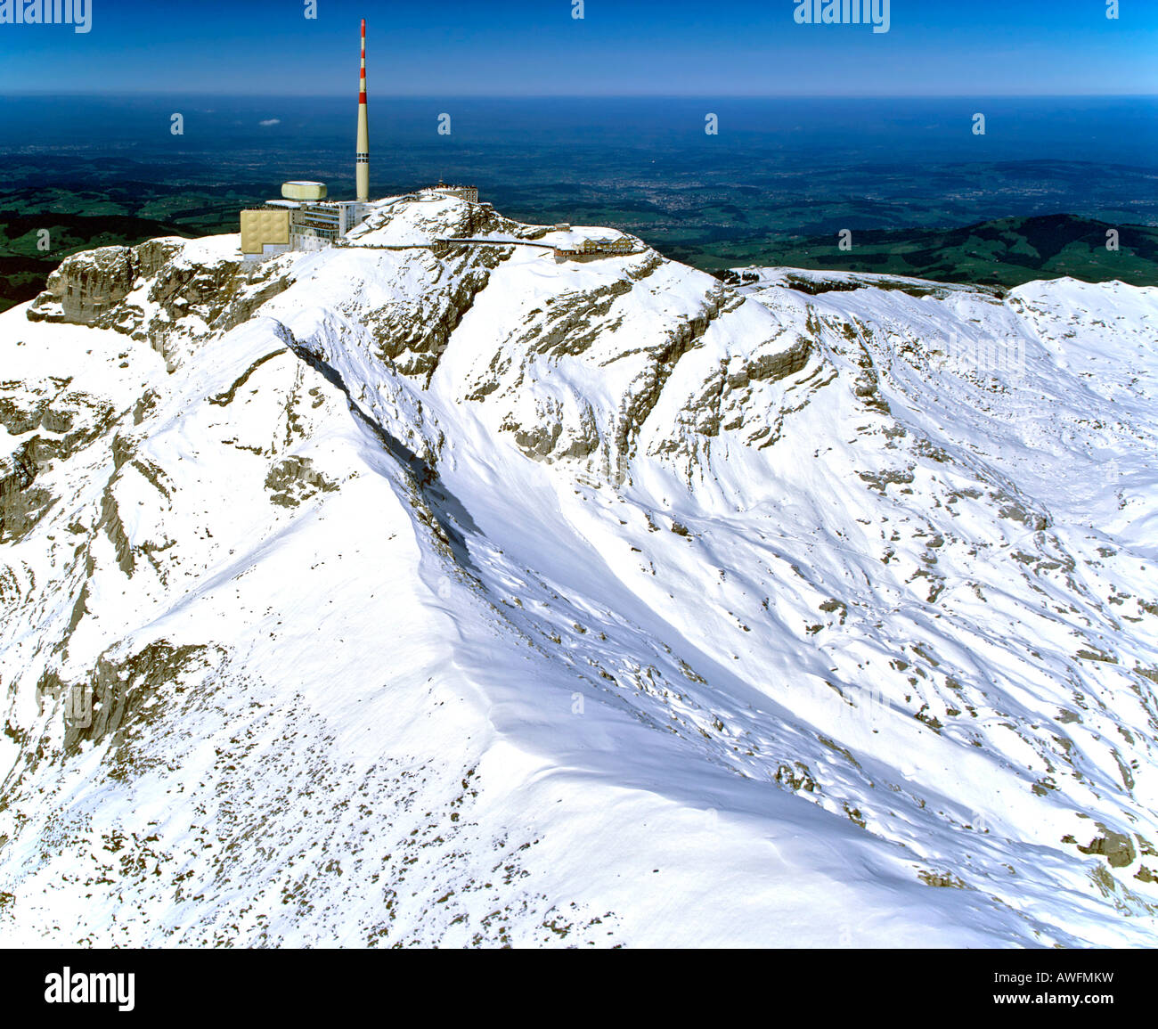 Aerial shot, Saentis, radio tower, Appenzeller Alps, Appenzell, Switzerland, Europe - Stock Image