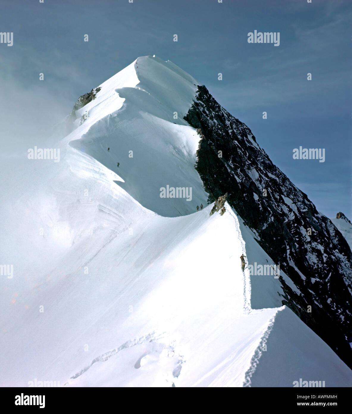 Mt. Biancograt, Piz Bernina, Bernina Group, Grisons, Switzerland, Europe - Stock Image