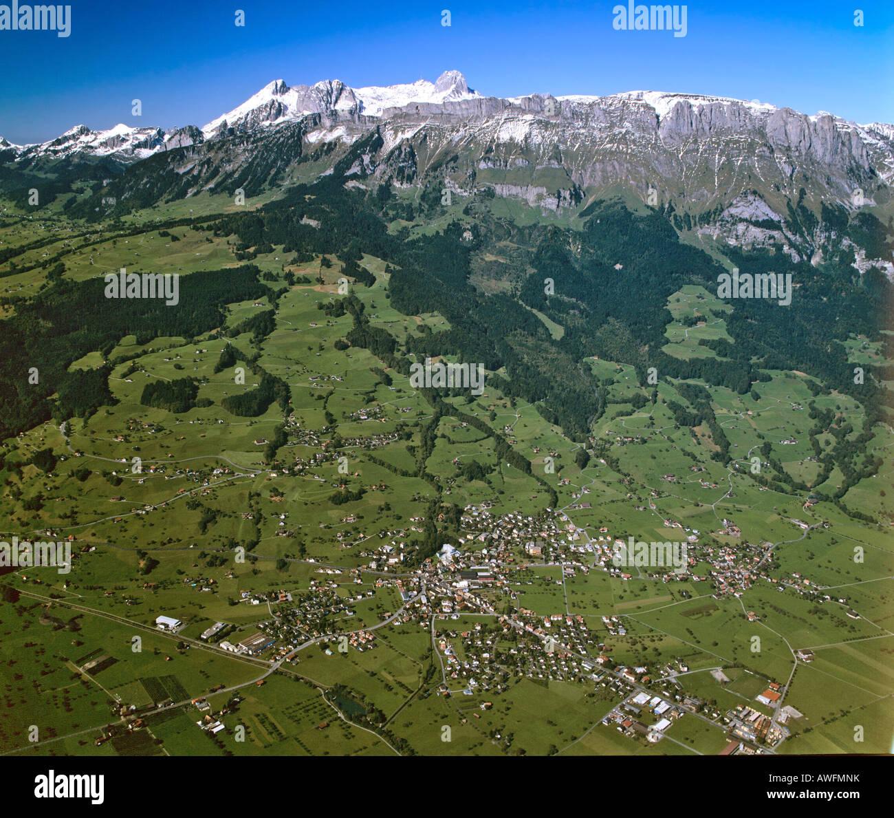 Aerial shot taken near Buchs, Kreuzberge Range, Grisons, Switzerland, Europe - Stock Image