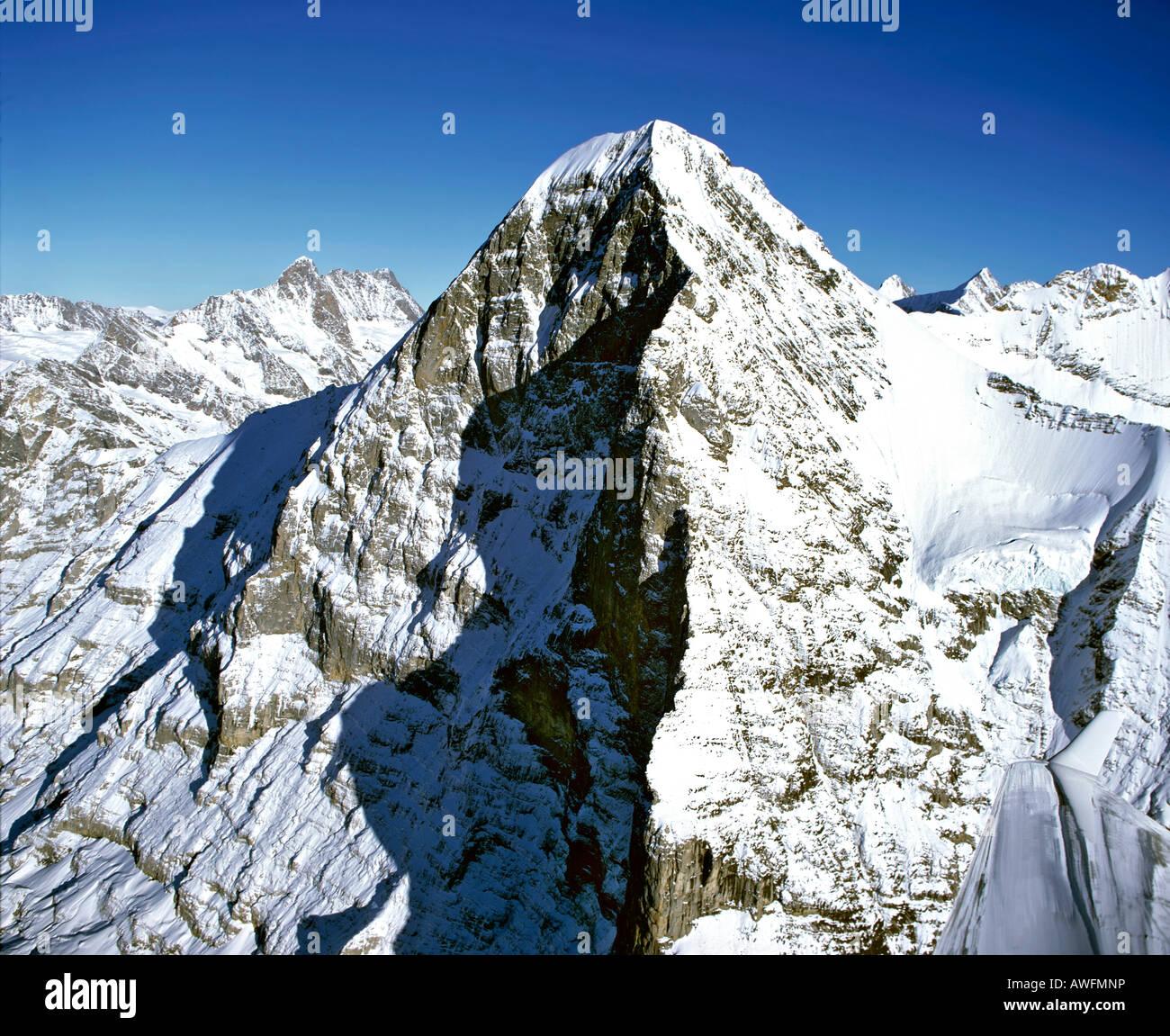 Aerial shot, north face of Mt. Eiger, Bernese Alps, Bernese Oberland (Highlands), Switzerland, Europe - Stock Image