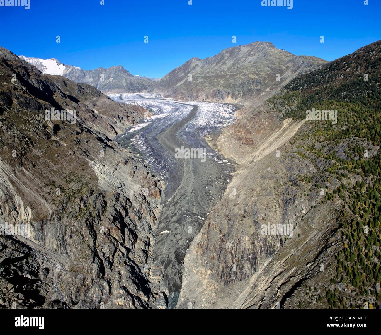 Aletsch Glacier, tip of the glacier tongue, Bernese Alps, Valais, Switzerland, Europe - Stock Image