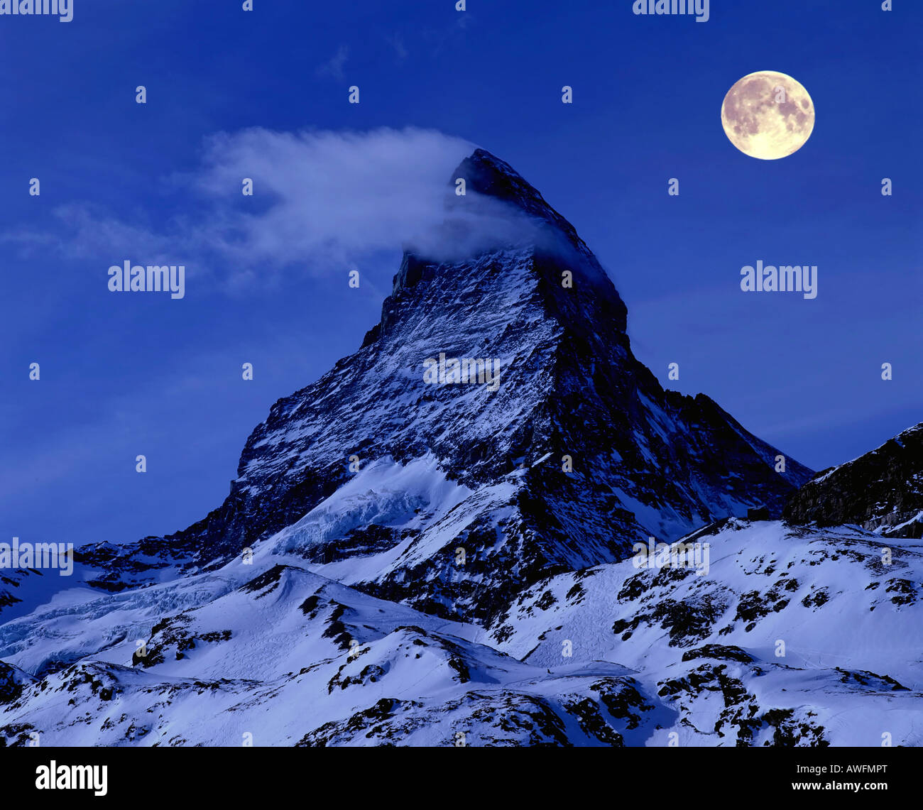 The full moon over Mt. Matterhorn (composing shot), Wallis Alps, Zermatt, Wallis, Switzerland, Europe Stock Photo