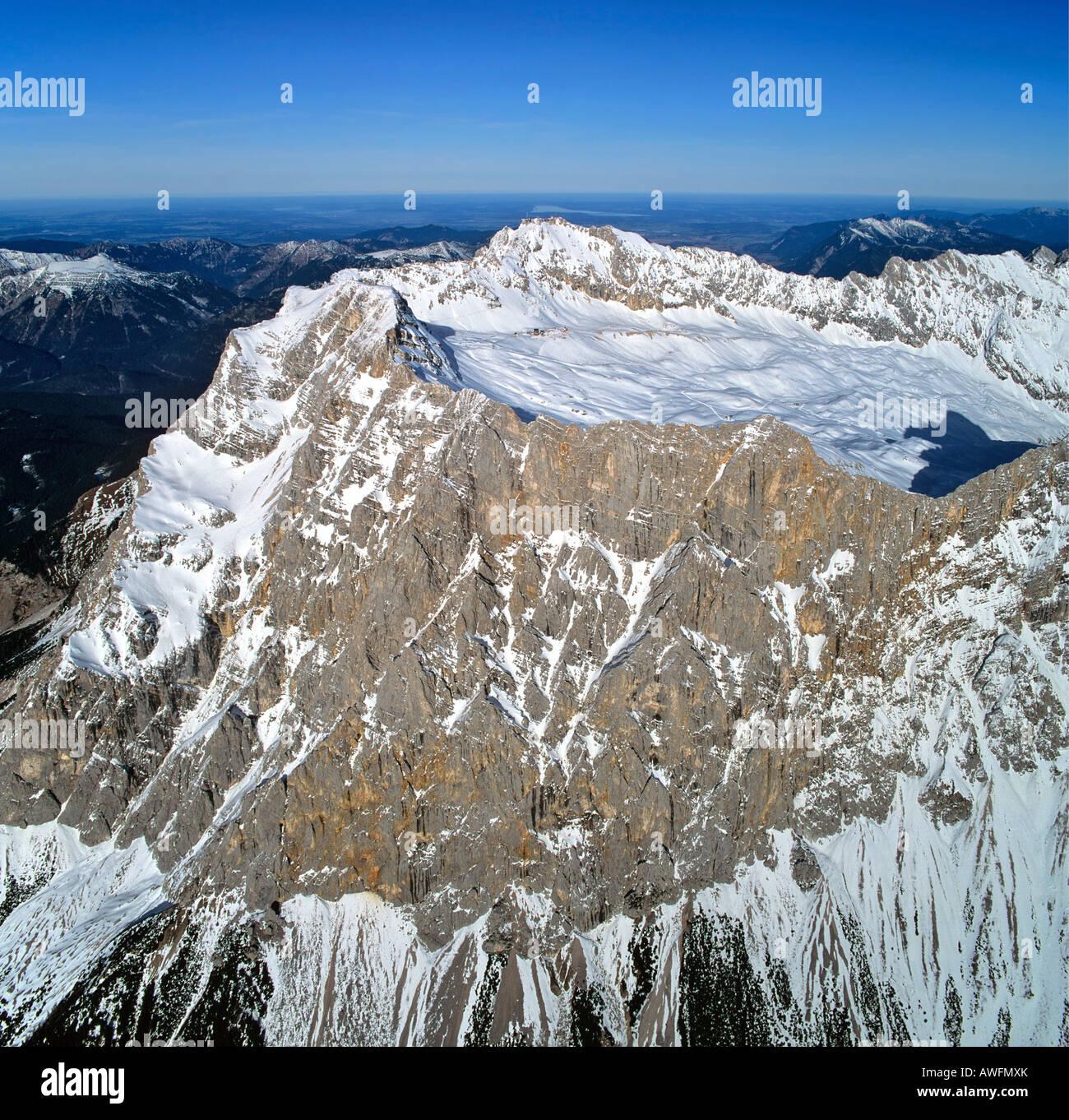 Mt. Zugspitze and Schneeferner Glacier, Wetterstein Range, Upper Bavaria, Bavaria, Germany, Europe - Stock Image