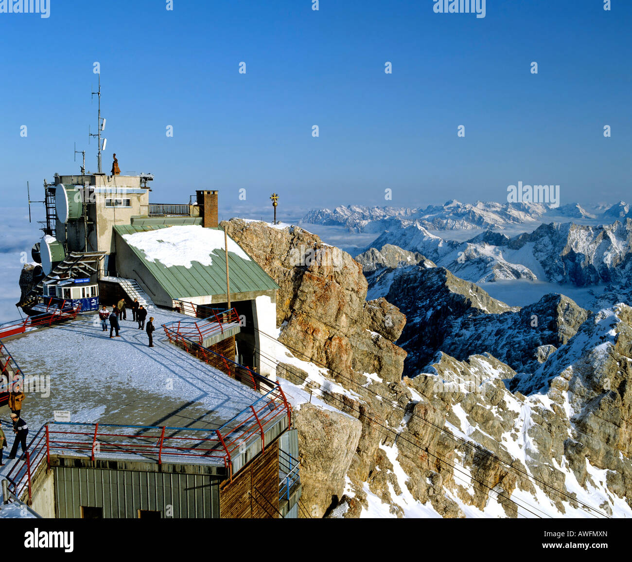 Panoramic view of the weather station and viewing platform on Mt. Zugspitze, Wetterstein Range, Upper Bavaria, Bavaria, Stock Photo