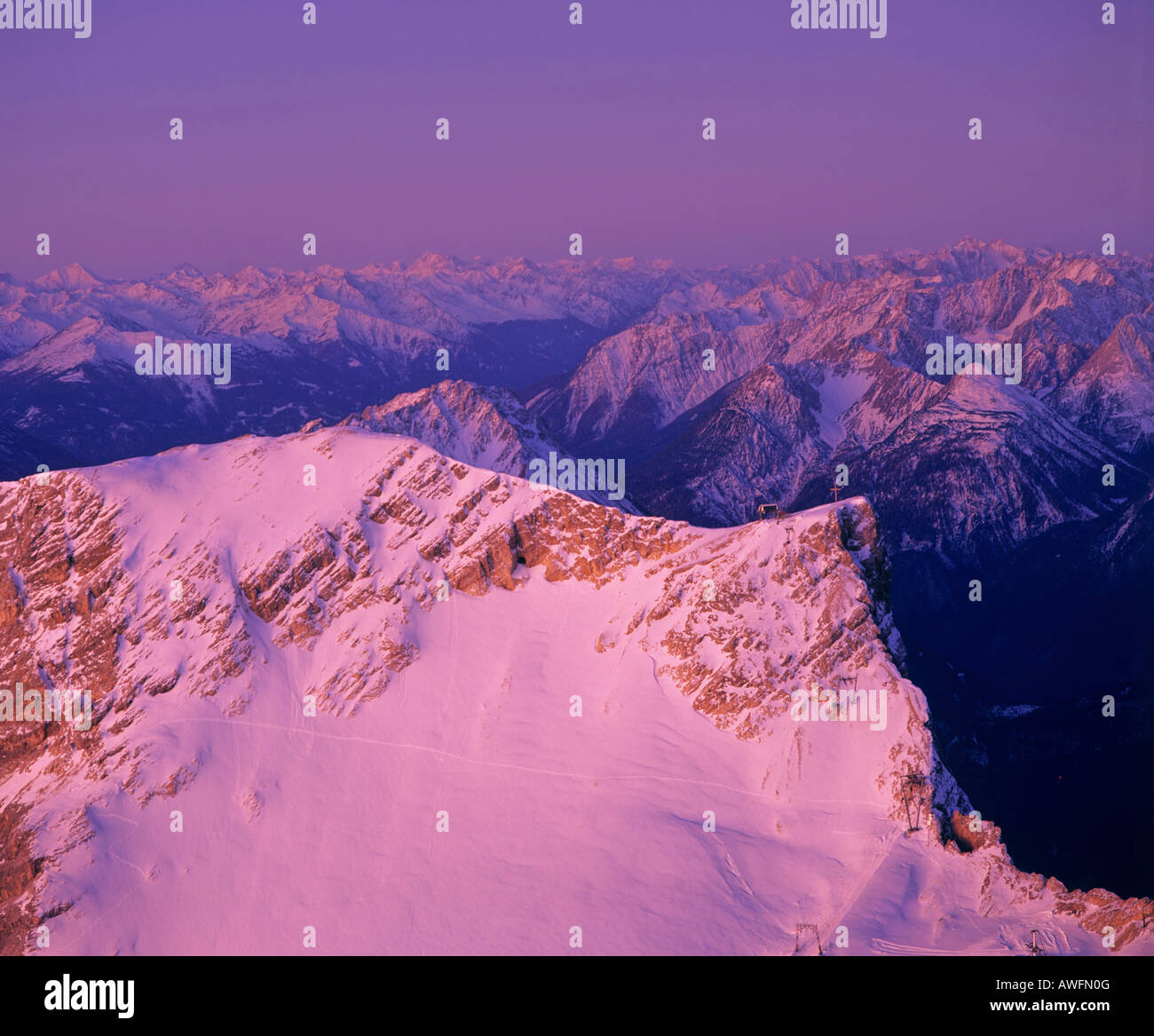 Panoramic view from Mt. Zugspitze toward the Lechtal Alps and Oetztal Alps, Upper Bavaria, Bavaria, Germany, Europe - Stock Image