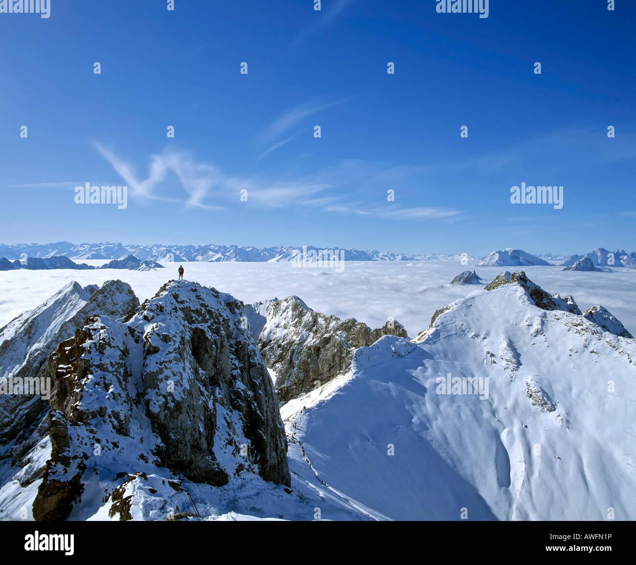 Panoramic view of the western peaks of the Karwendel Range in a sea of fog, Mittenwald, Upper Bavaria, Bavaria, - Stock Image
