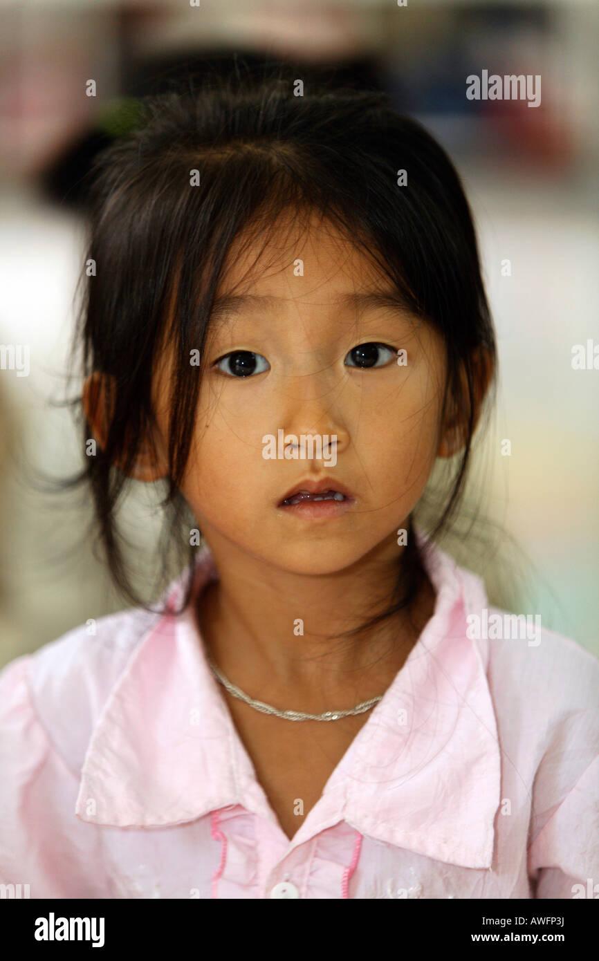 Girl in nursery-school, Dong Mon, Hoa Bin Province, Vietnam, Asia Stock Photo