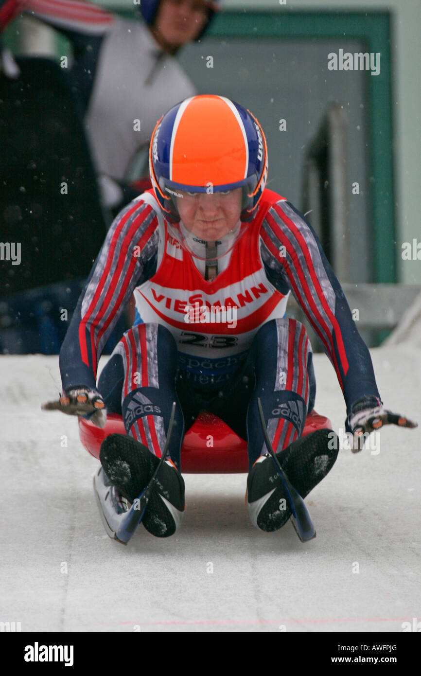 Luge, women's singles, start position, FIL European Luge Championships 2007, Winterberg, Germany, Europe - Stock Image