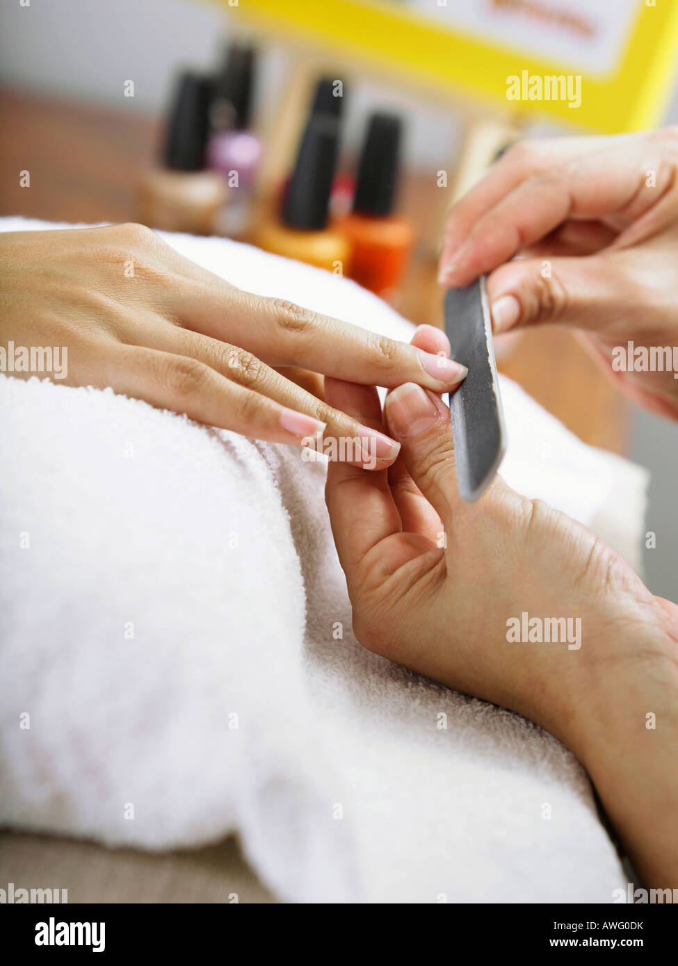 Woman Getting Her Nails Done Stock Photo: 16570782 - Alamy