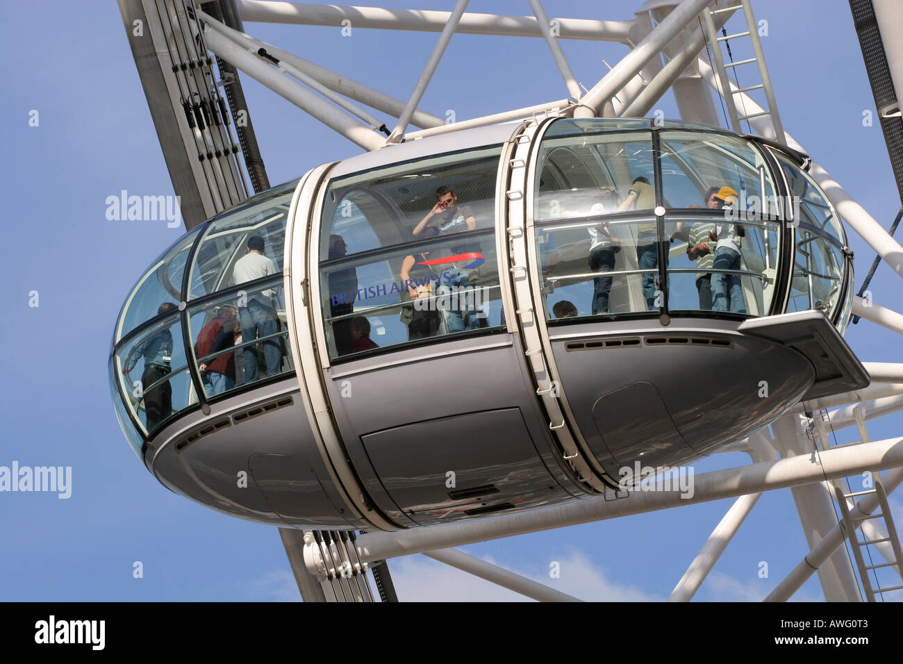 Closeup of a tourist filled capsule pod on the popular landmark tourism attraction The London Eye UK Europe Stock Photo
