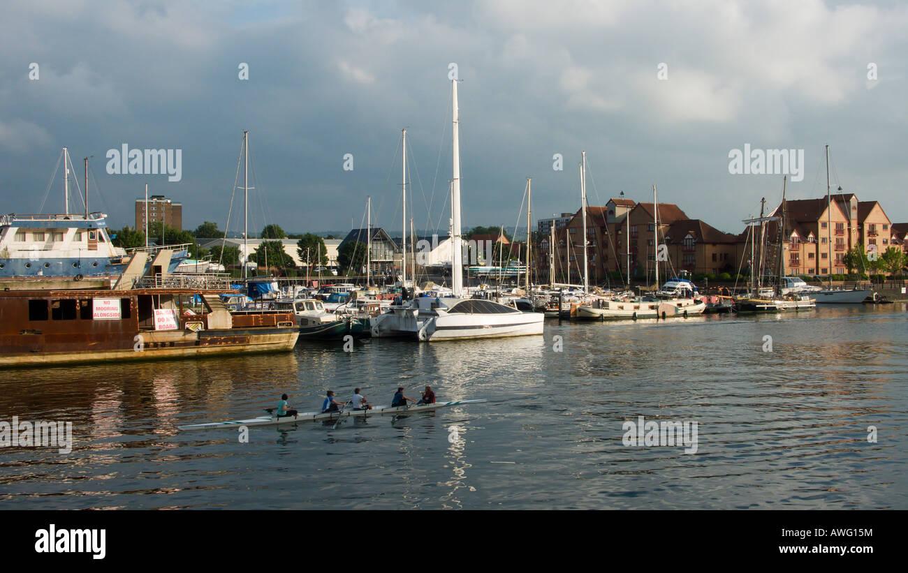 Bristol Docks with rowers - Stock Image