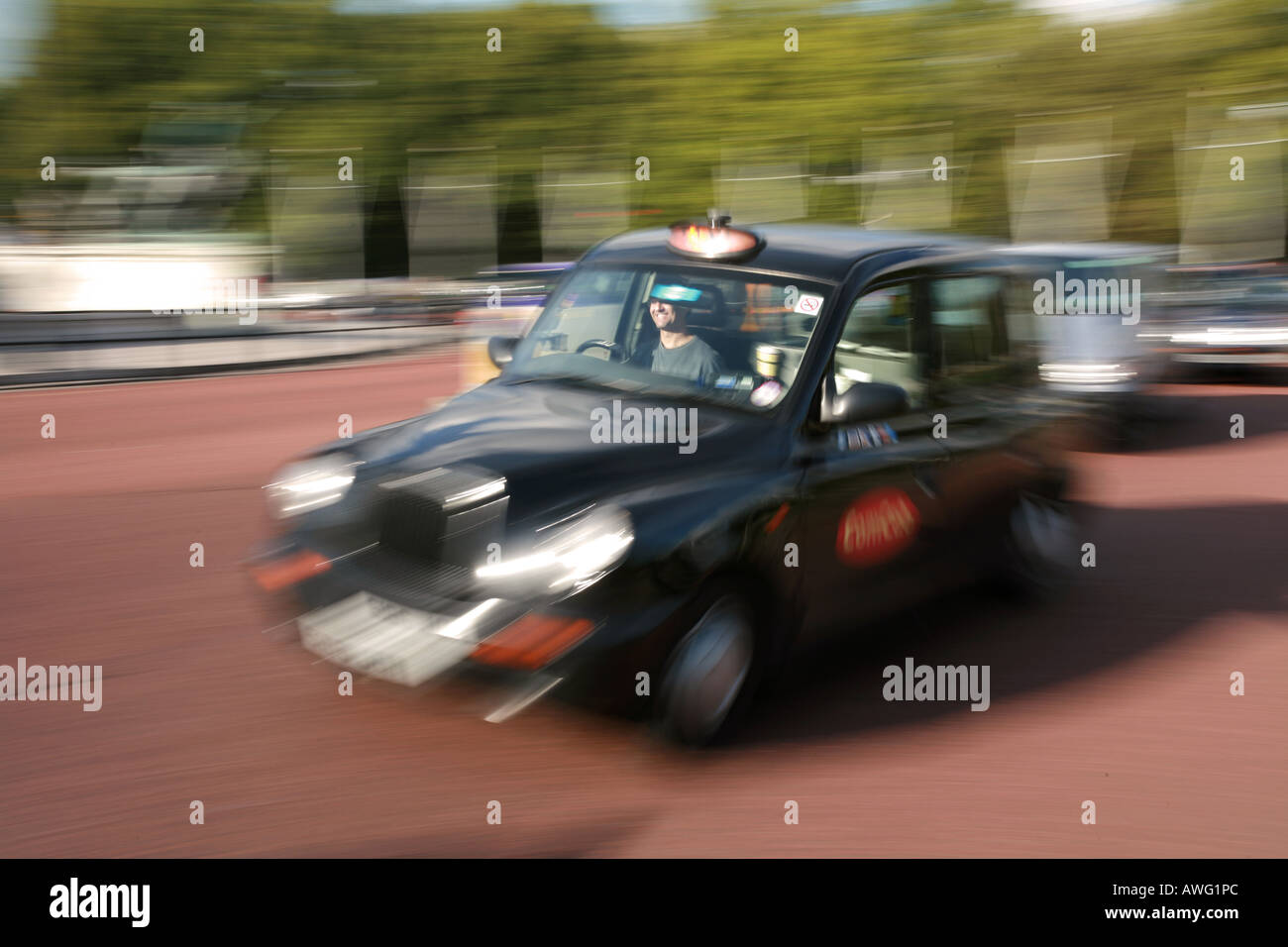 Typical London black taxi cab licensed hackney carriage public transport iconic evocative image England London Britain UK - Stock Image