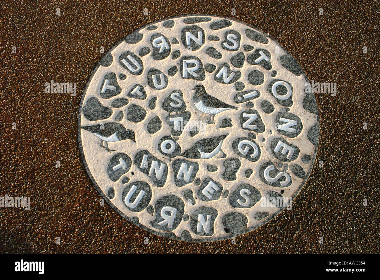 Art Work on flagstone Tern project Morecambe - Stock Image