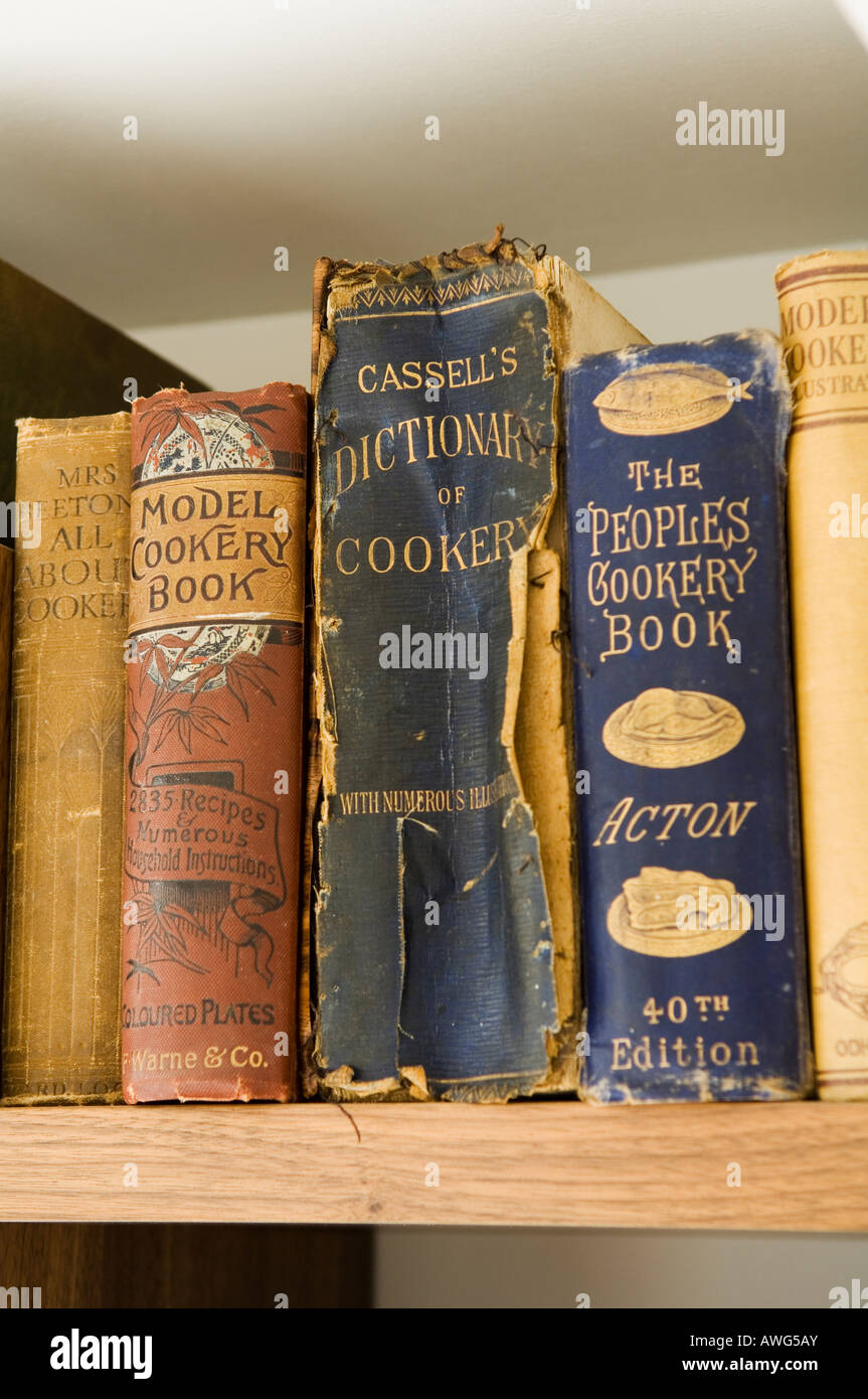 detail of antique recipe books in the home of a well known London chef - Stock Image