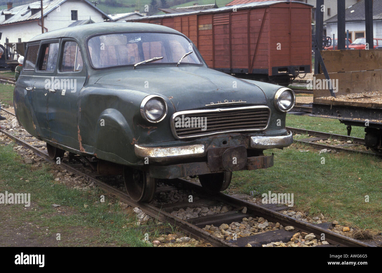 An old Skoda car converted to run on railway lines at Cierny Balog preserved forest railway Slovakia - Stock Image