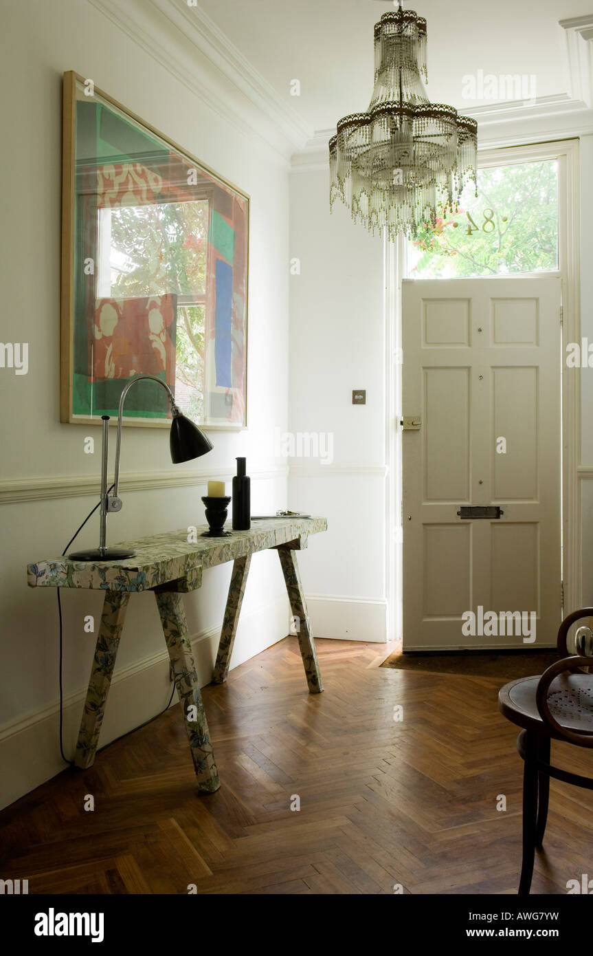entrance hall of London home of well known chef - Stock Image