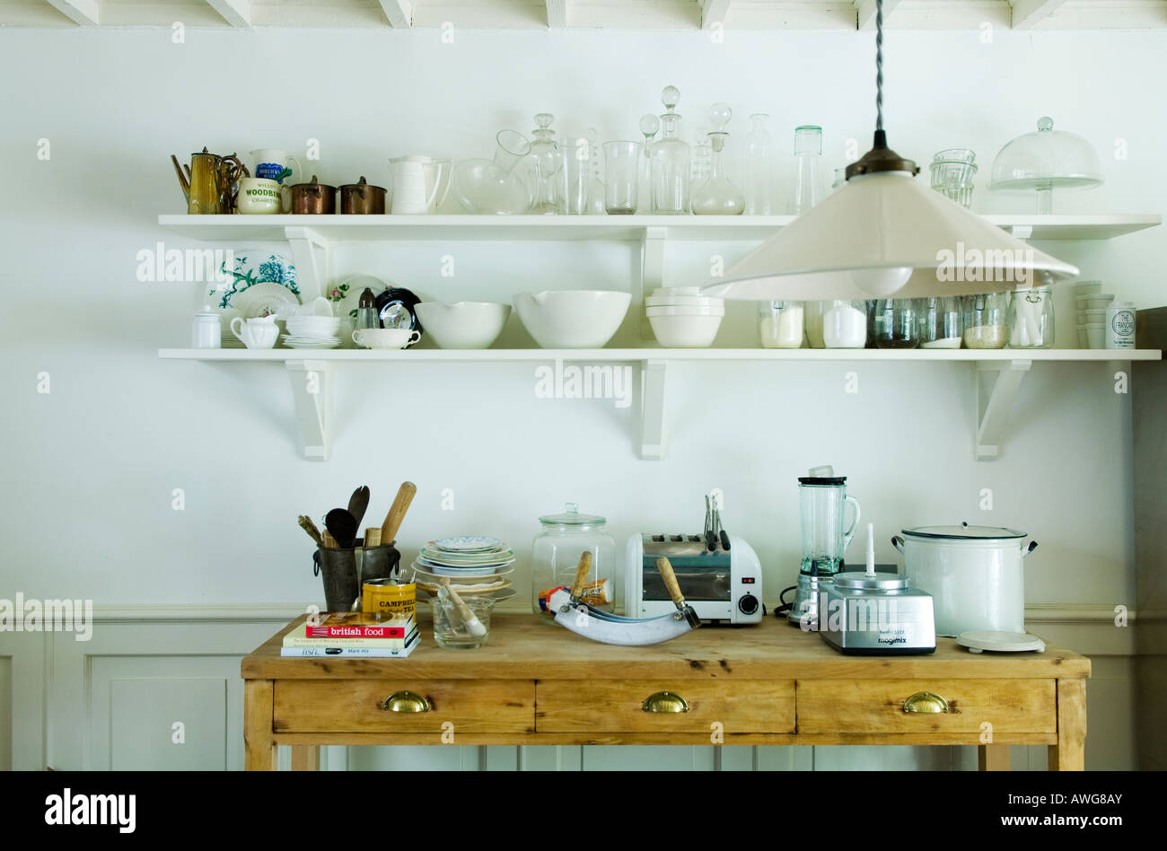 partial view of the kitchen in the home of a well known London chef - Stock Image