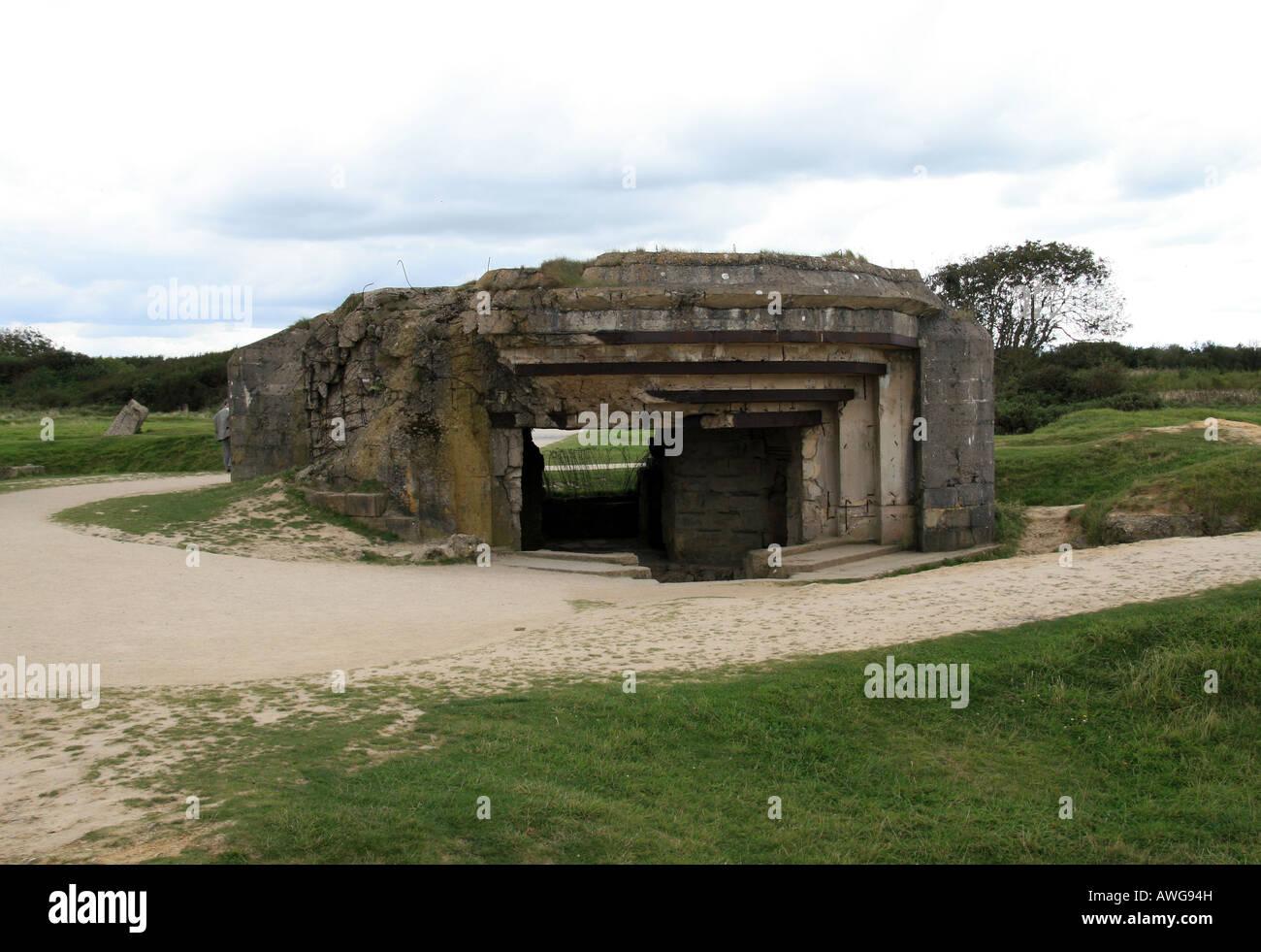 A German Artillary encasement on Pointe du Hoc, Normandy. - Stock Image