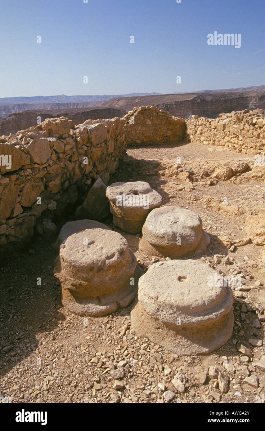 A view bases of columns in the ruins of the city of Masada high atop a mesa adjacent to the Dead Sea Stock Photo