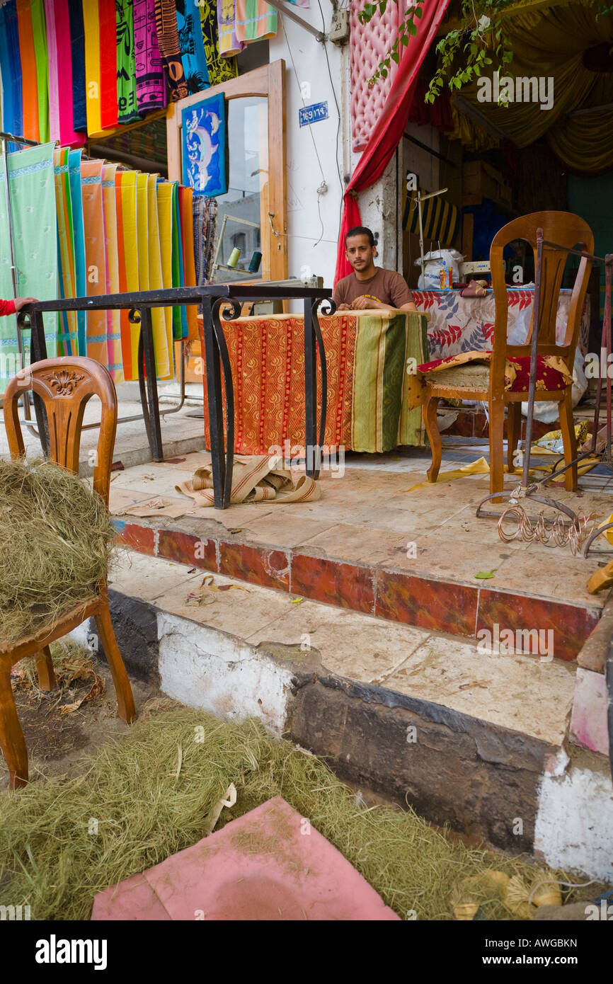 Egyptian Upholsterer And Furniture Repair Shop   Stock Image
