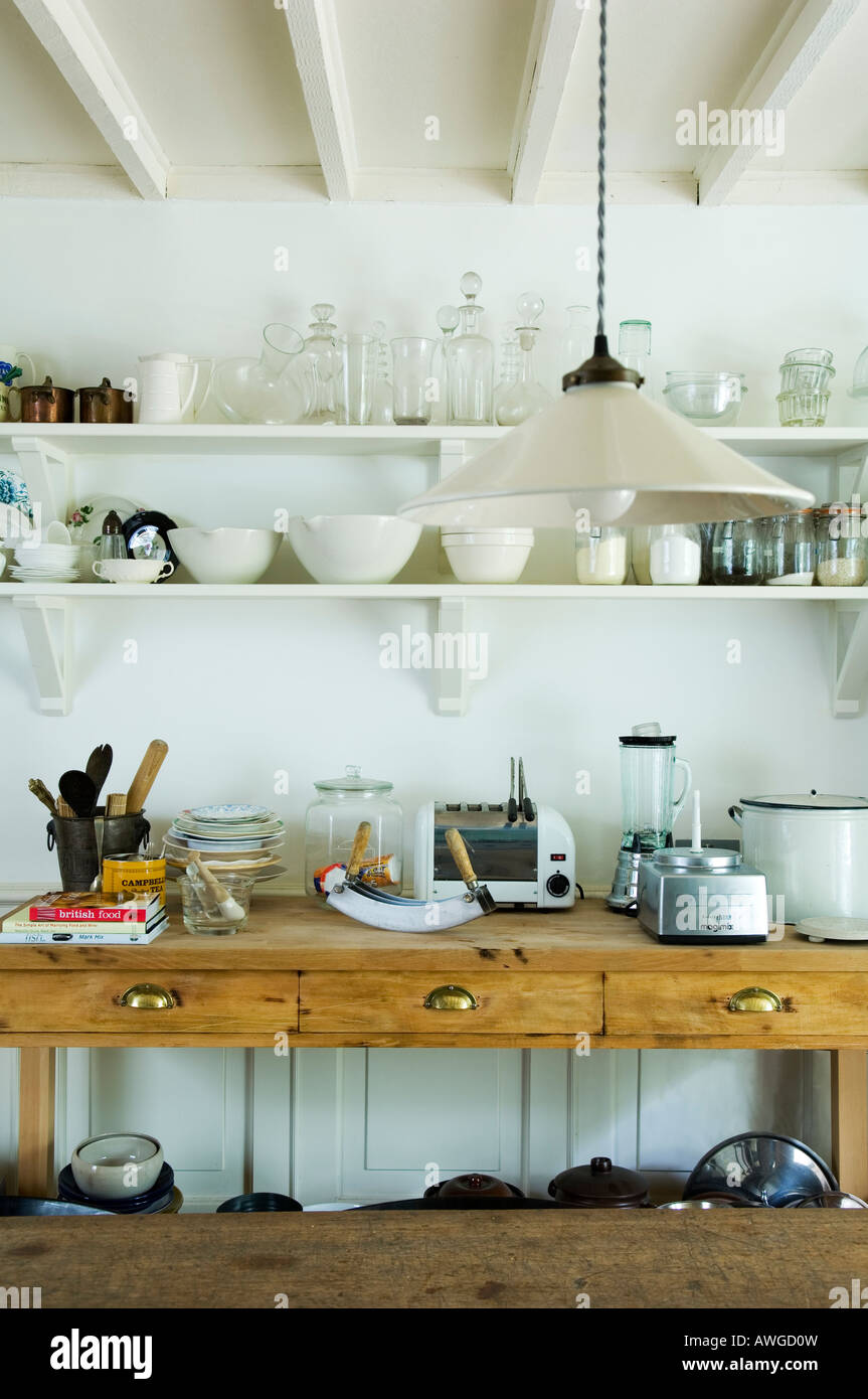 partial view of kitchen in the house of a well known London chef - Stock Image