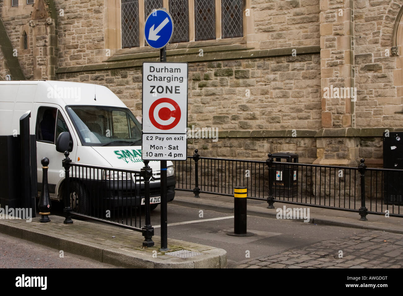 Van stopped at rising bollard at the exit of Durham s traffic charging zone - Stock Image