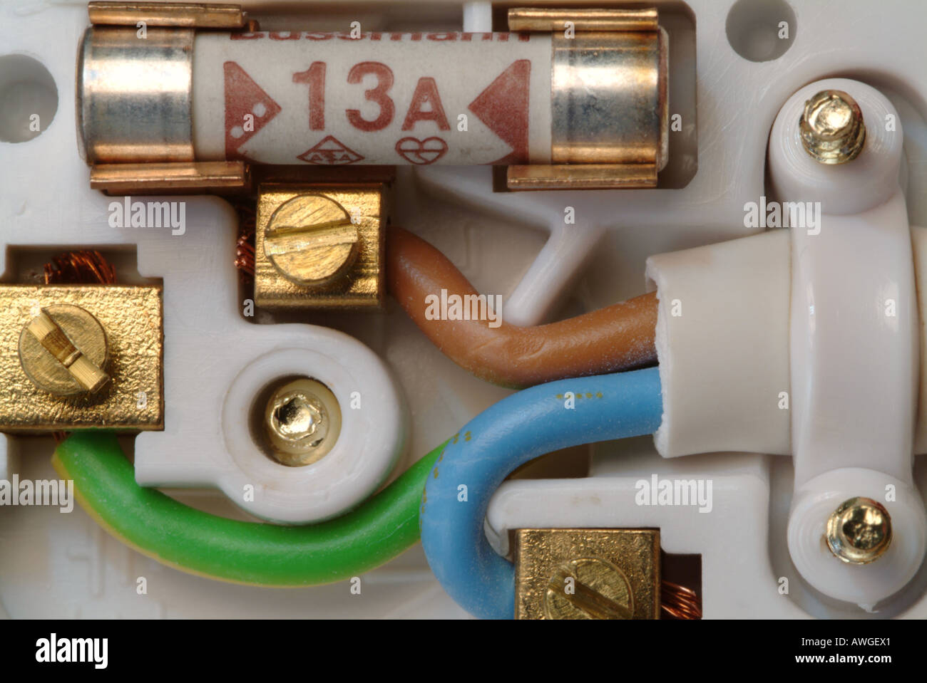 Close-up showing the inside of a standard british 13 amp electrical plug. Stock Photo