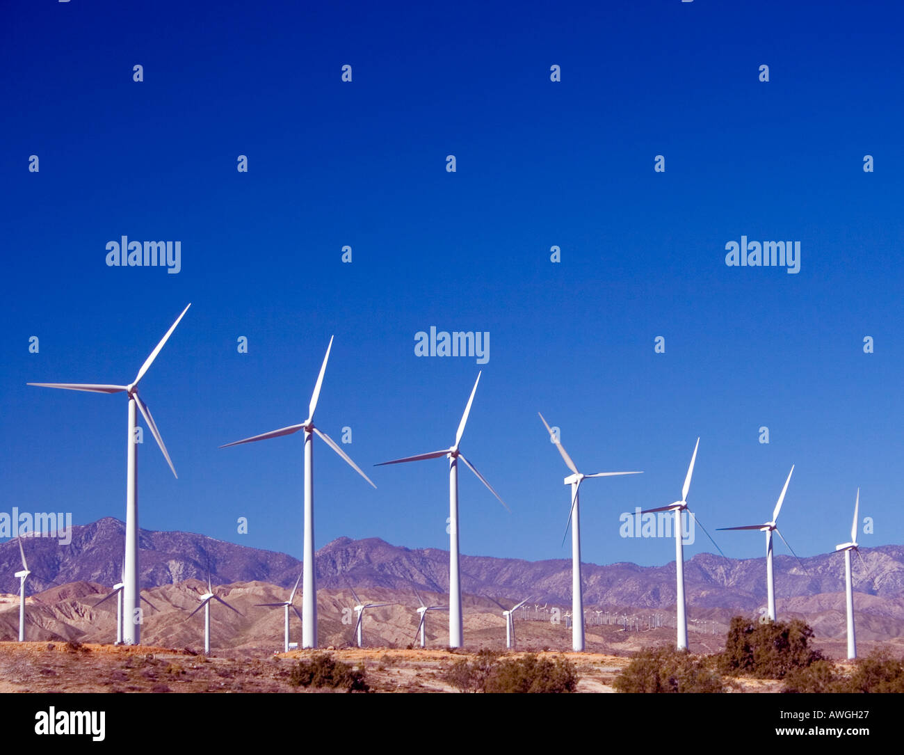 A windmill farm in the desert near Palm Springs California - Stock Image