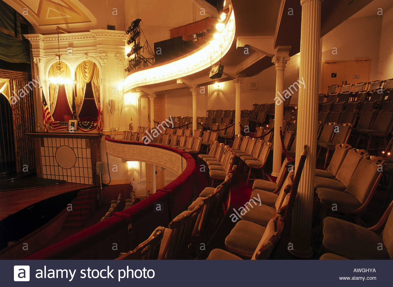 USA, Washington, D.C., Ford's Theater, interior of one of America's best-known historic sites housing theater company and museum - Stock Image
