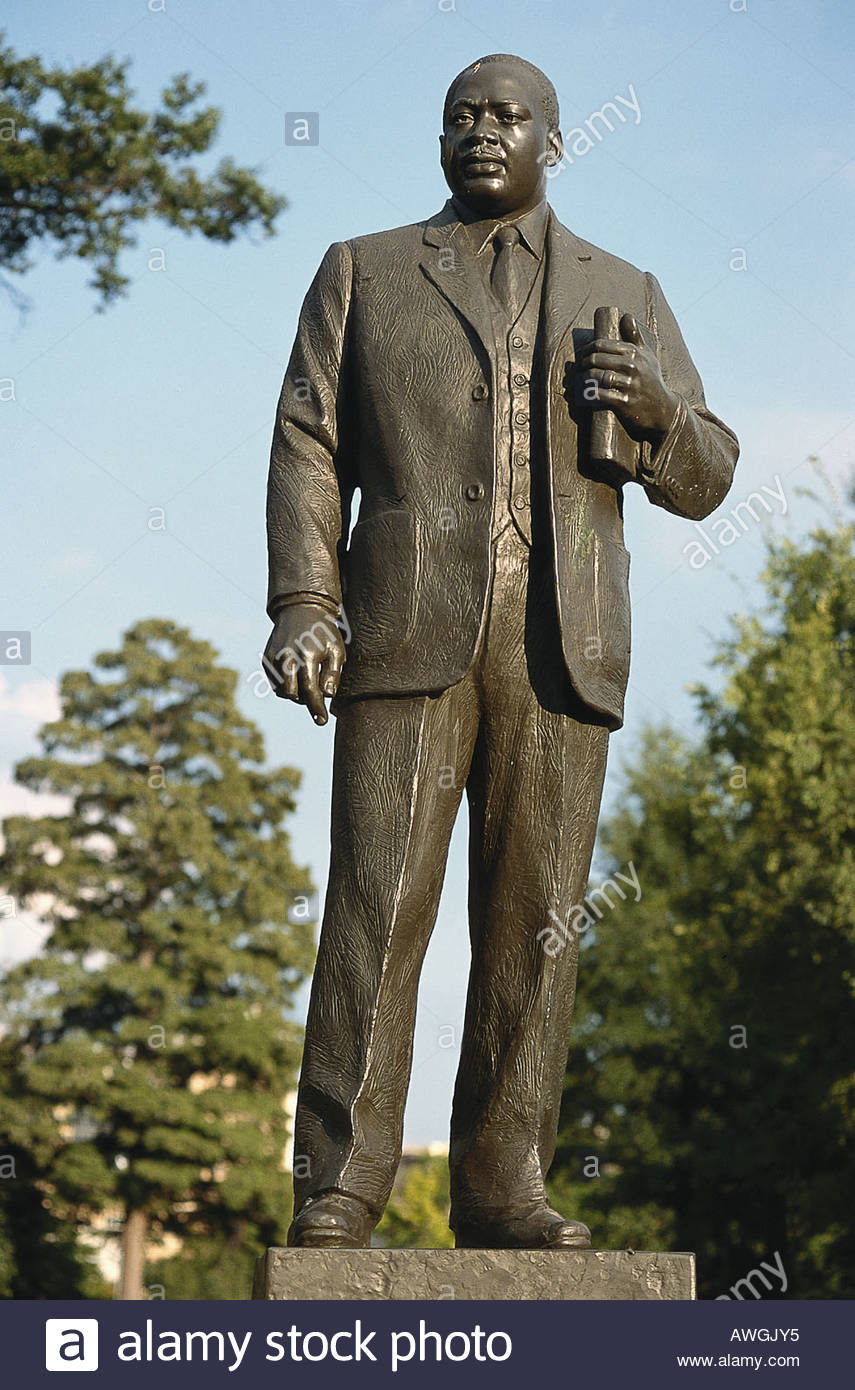 USA, Alabama, Birmingham Civil Rights Institute, bronze statue of Martin Luther King Jr. - Stock Image