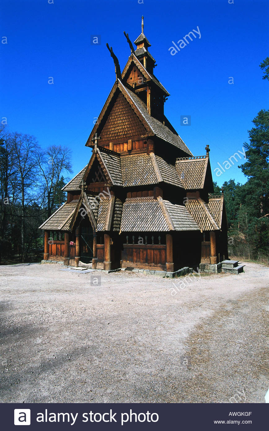 Norway, Bygdoy, Norsk Folkemuseum, façade of medieval 13th-century Gol stave church in grounds of open-air museum - Stock Image