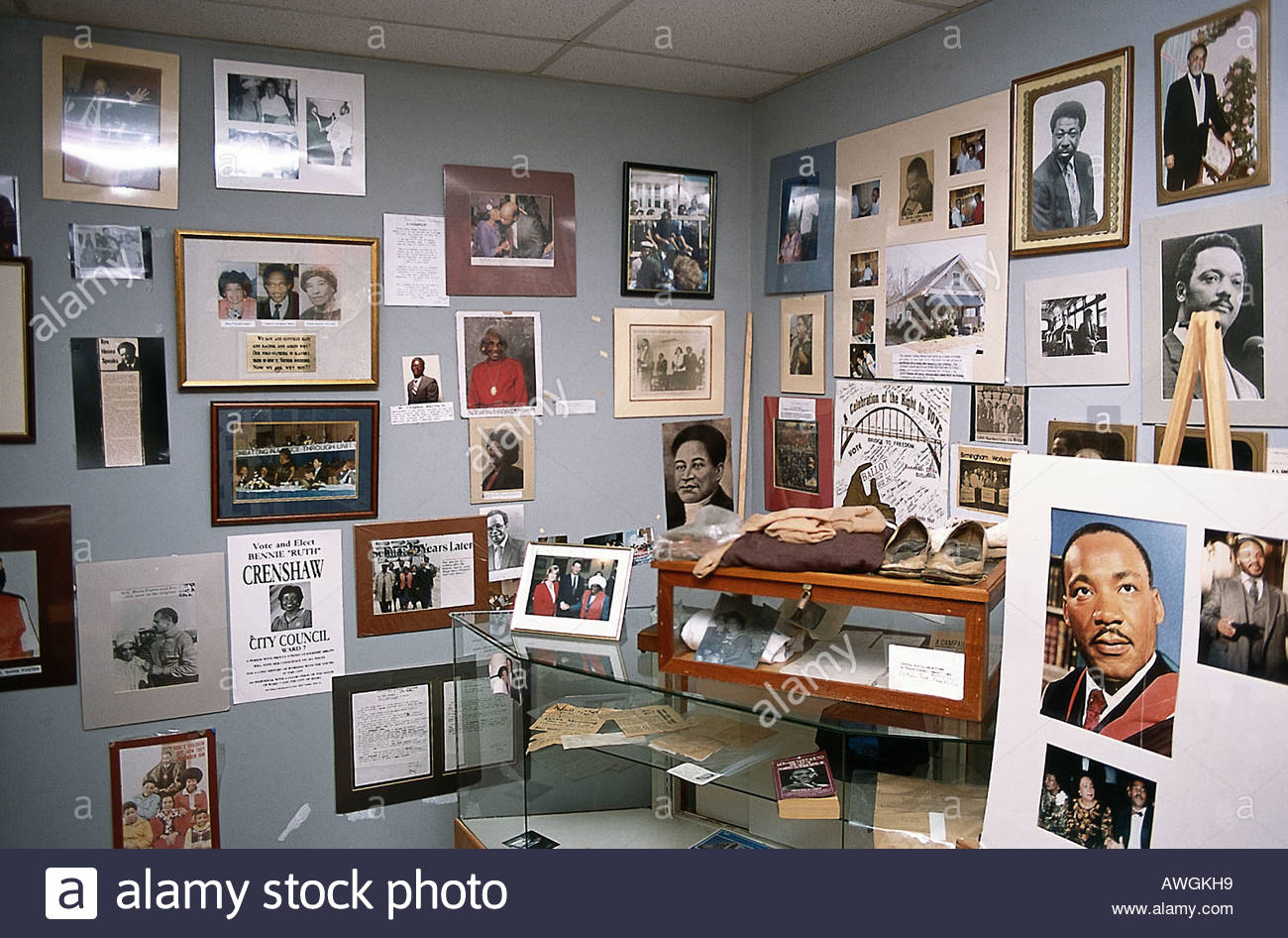 USA, Alabama, Selma, National Voting Rights Museum, photographs and illustrations on display - Stock Image