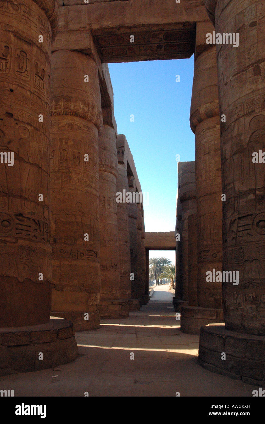 Great Hypostyle Hall, Karnak looking North. - Stock Image