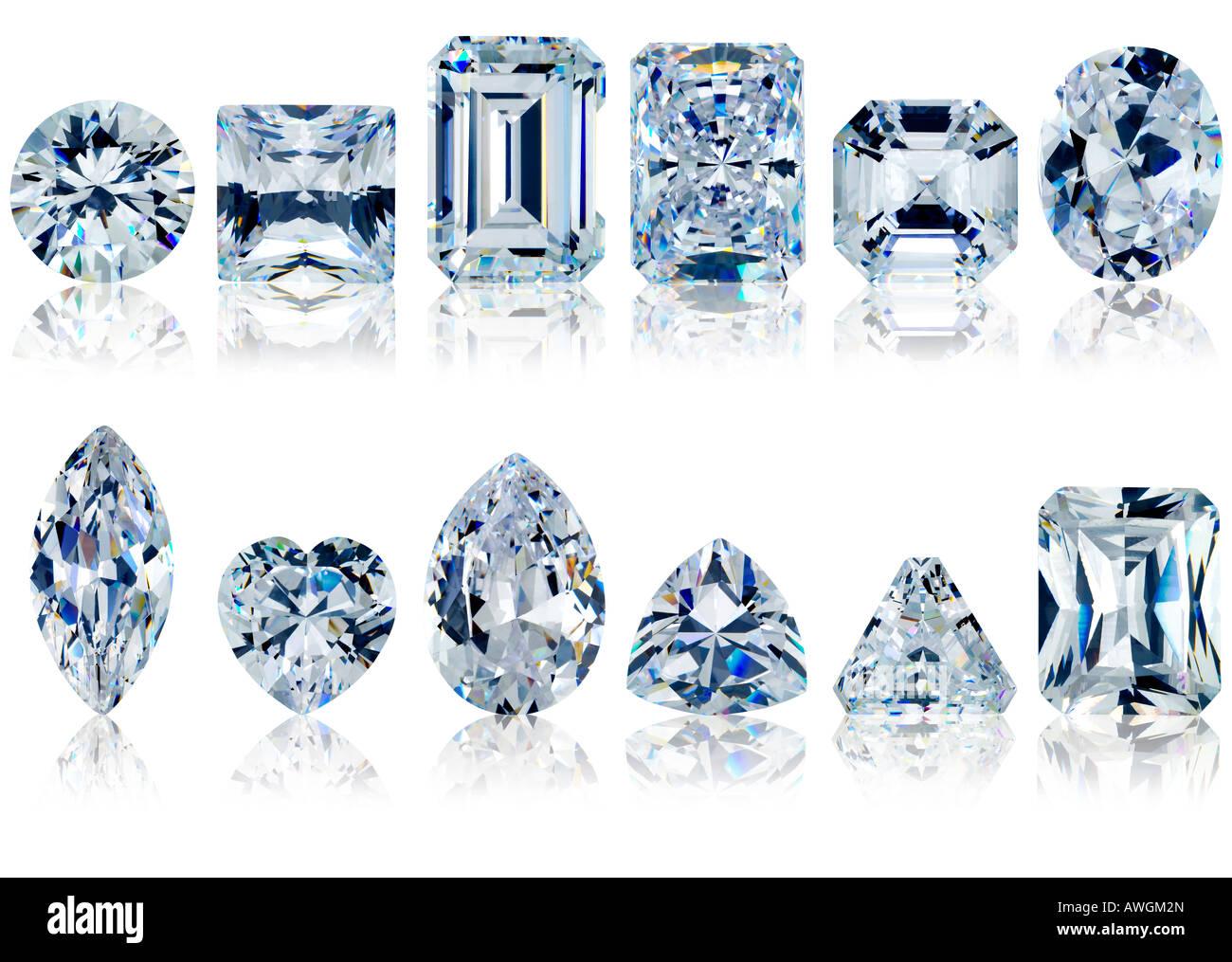 close up white diamonds on white background - Stock Image