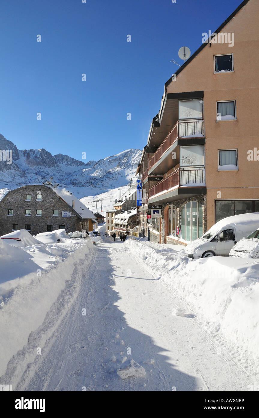 Pas de la Casa winter ski resort, the Pyrenees, Andorra (Spain) - the town - Stock Image