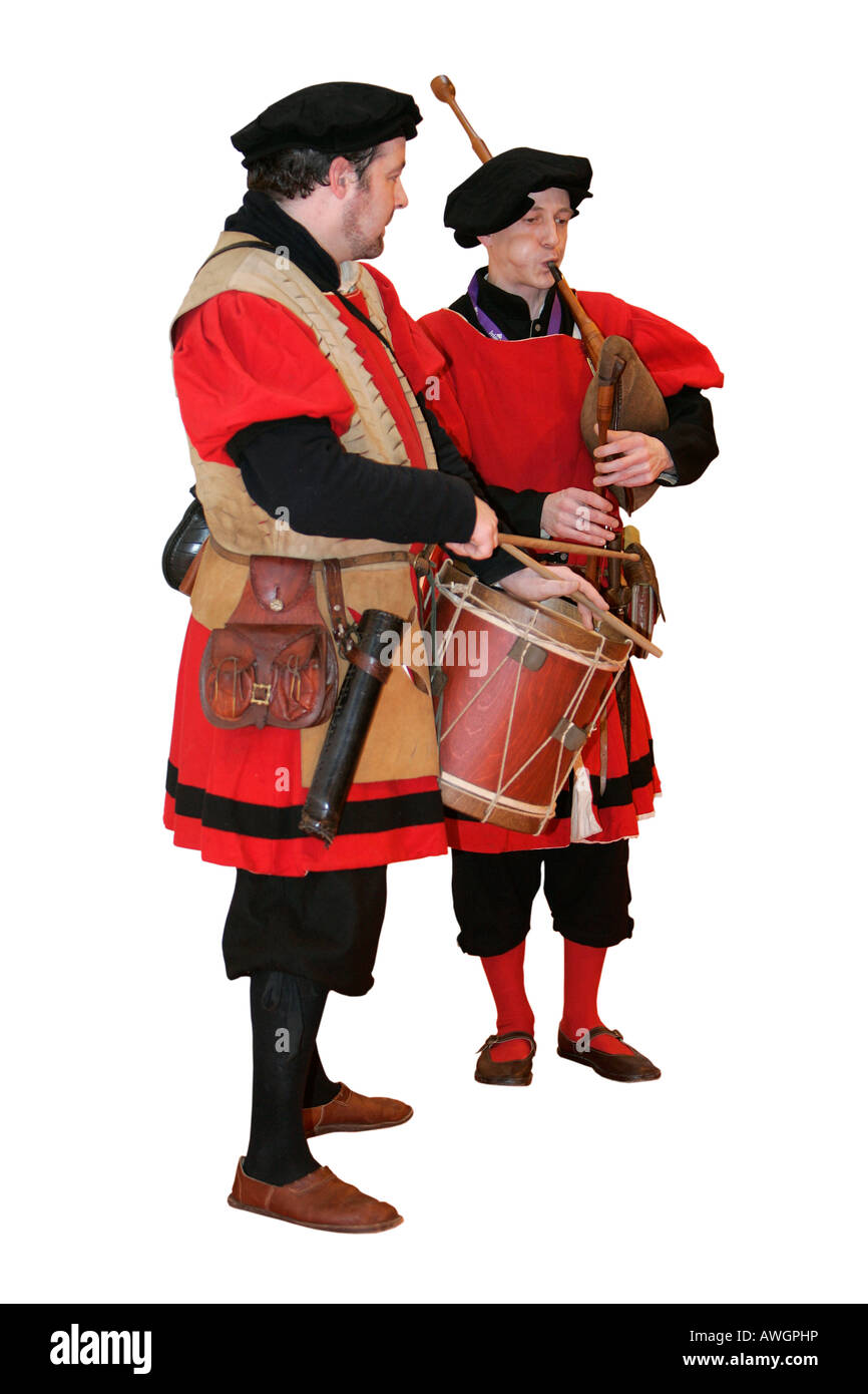 Costume Old English Musician Music Drum Pipe Wooden Instrument Stock