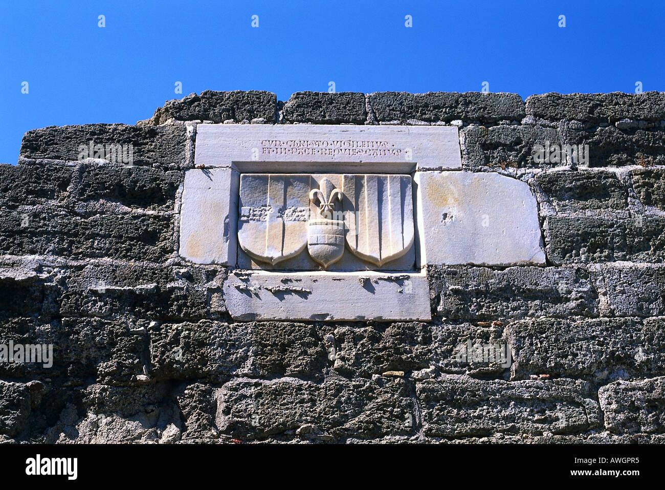 Turkey, Aegean Region, Bodrum, Castle of St Peter, heraldic relief carving on castle walls - Stock Image