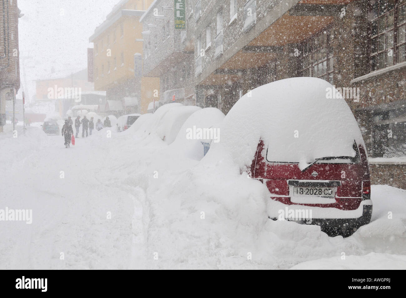 Snow blizzard in Pas de la Casa, Andorra - heavy snowing, extreme weather - Stock Image