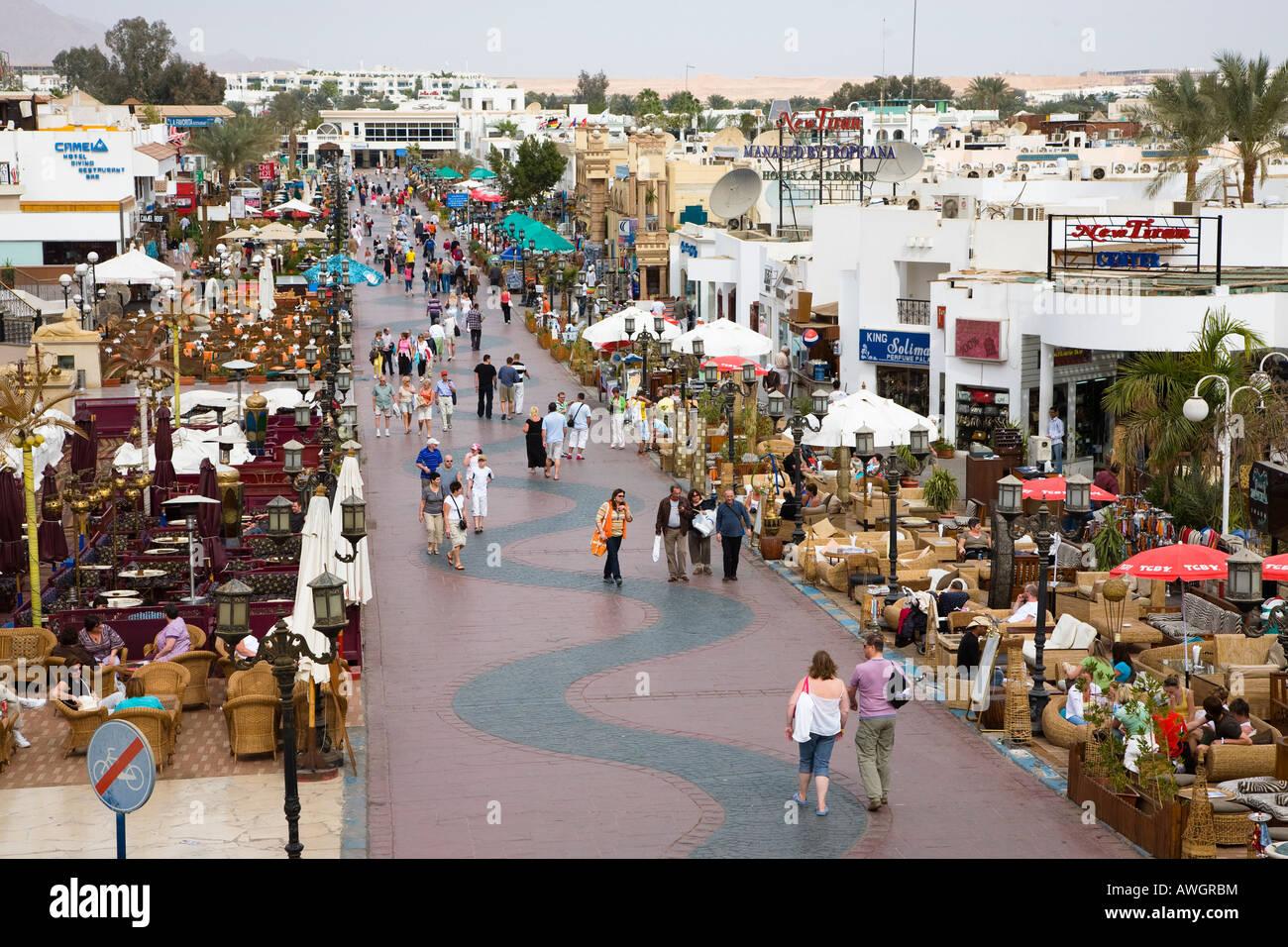 Main tourist shopping centre Naama Bay Sharm el Sheikh resort Red Sea Egypt - Stock Image