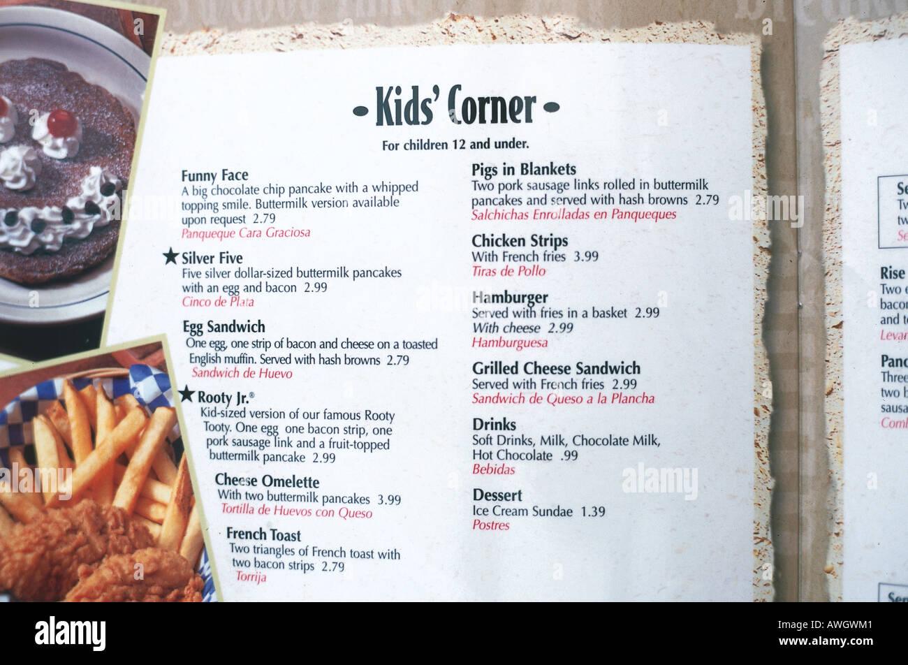USA, Florida, Orlando, Kid's Corner children's food menu, close-up - Stock Image