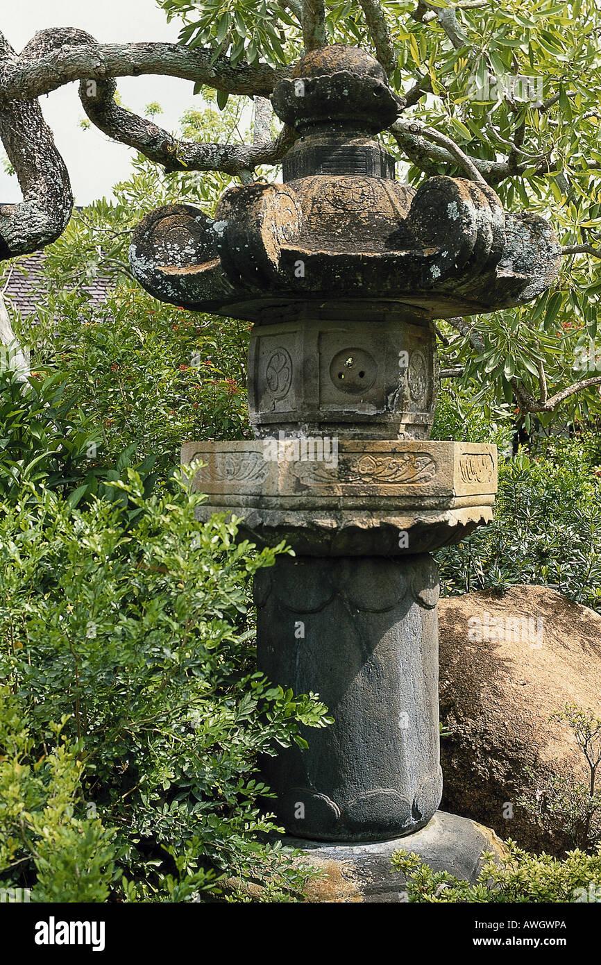USA, Florida, Miami, Morikami Japanese Gardens, large stone lantern ...